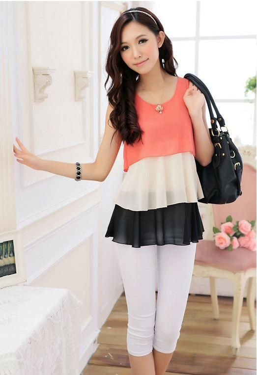 217476b51eade Red Chiffon Ruffles Sleevelss Korean Fashion Plus Size Summer Blouse ...