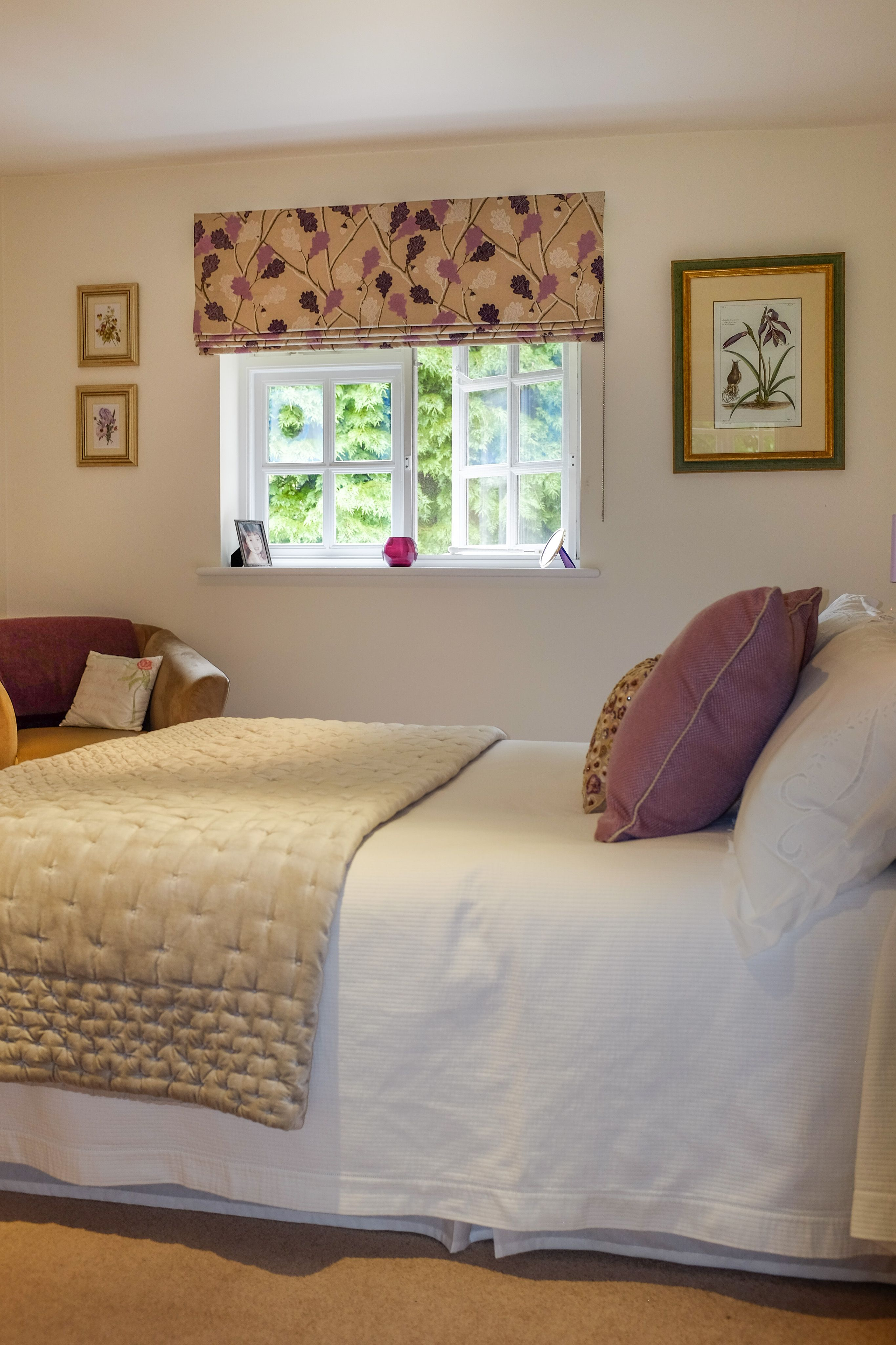 A Roman Blind Installed Across The Window Recess With A Floral