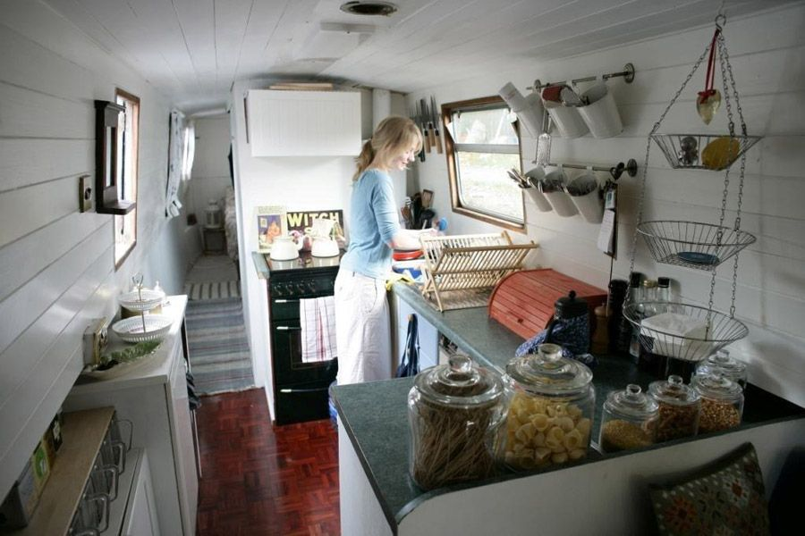 Cozy kitchen on houseboat Also love the closet organization in