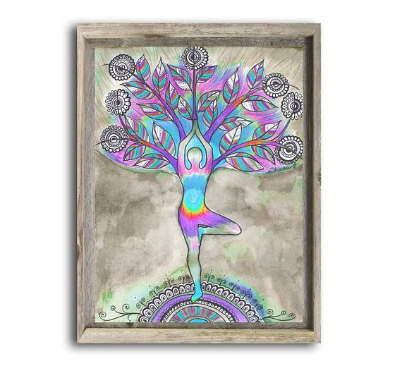 Yoga Asana Painting Print Tree Pose Vrikasana Studio