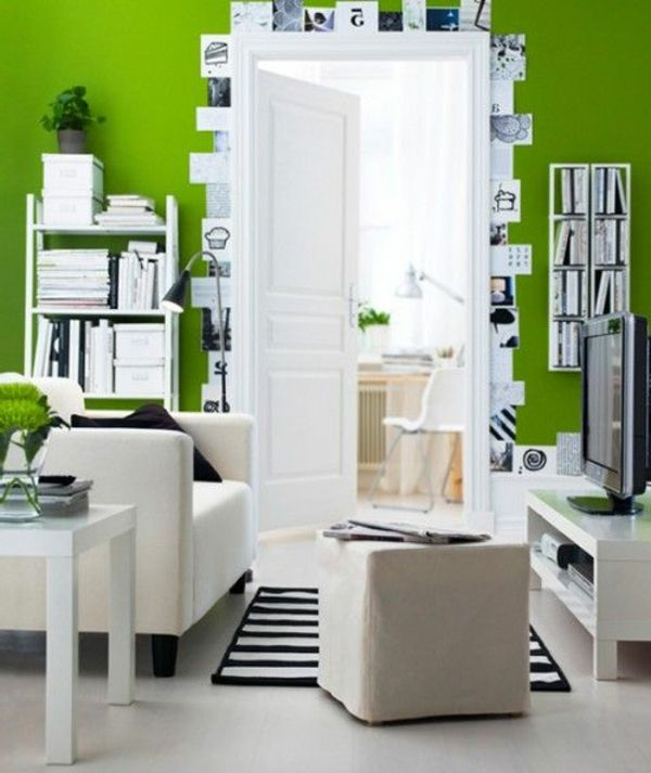 wohndesign - wohnzimmer weiß grün