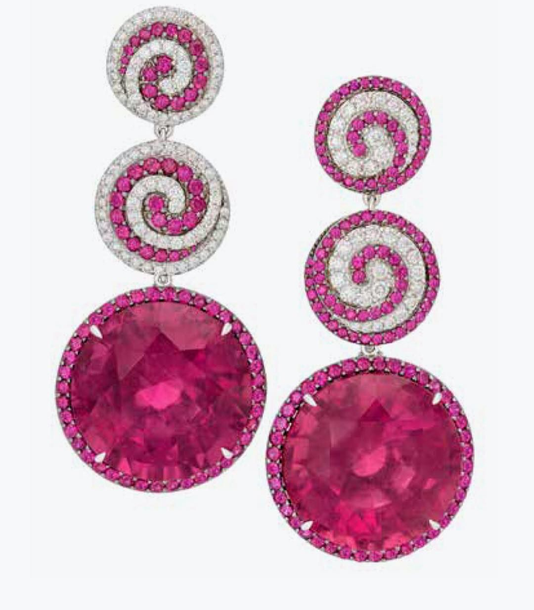 """Become """"Mesmerised"""" by 74.77cts of precious Rubellite Tourmaline with mesmerising swirls of Rubies and Diamonds.  These gems are one of a kind - rare enough to find one gem like this but a pair is truly special.  Margot McKinney jewellery  #oscars2016"""