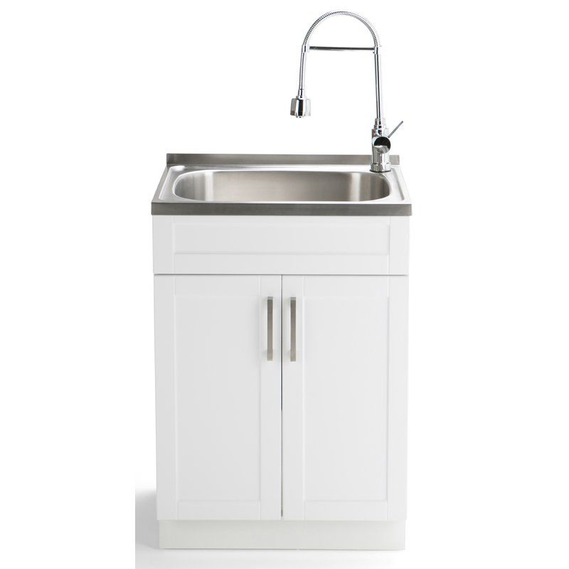 Hennessy 23 6 X 19 7 Freestanding Laundry Sink With Faucet Sink Laundry Room Cabinets Utility Sink