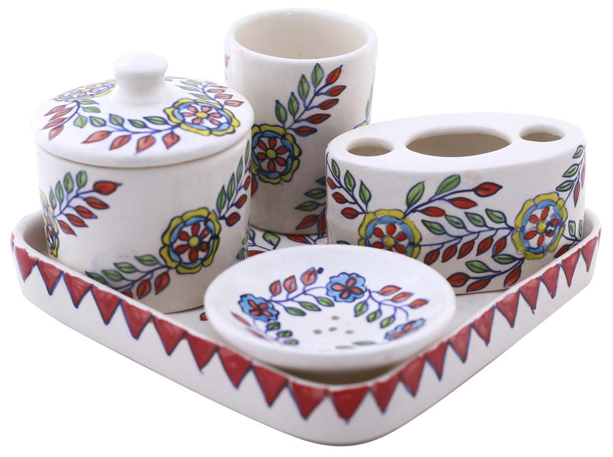 Bulk Wholesale Handmade Ceramic Bath Accessories Set (5 Items) U2013  Hand Painted Colorful U0026 Floral Bath Ensemble / Vanity Set