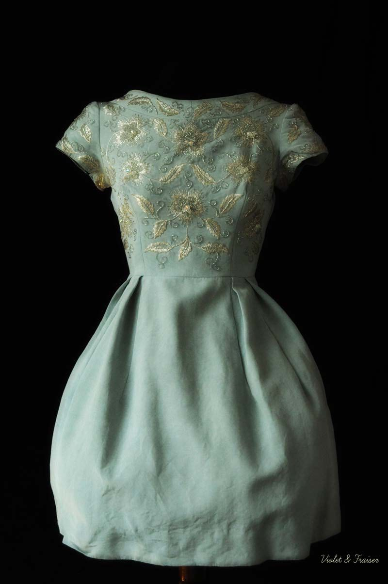 Jean allen at harrodus party dress from the s with embroidery
