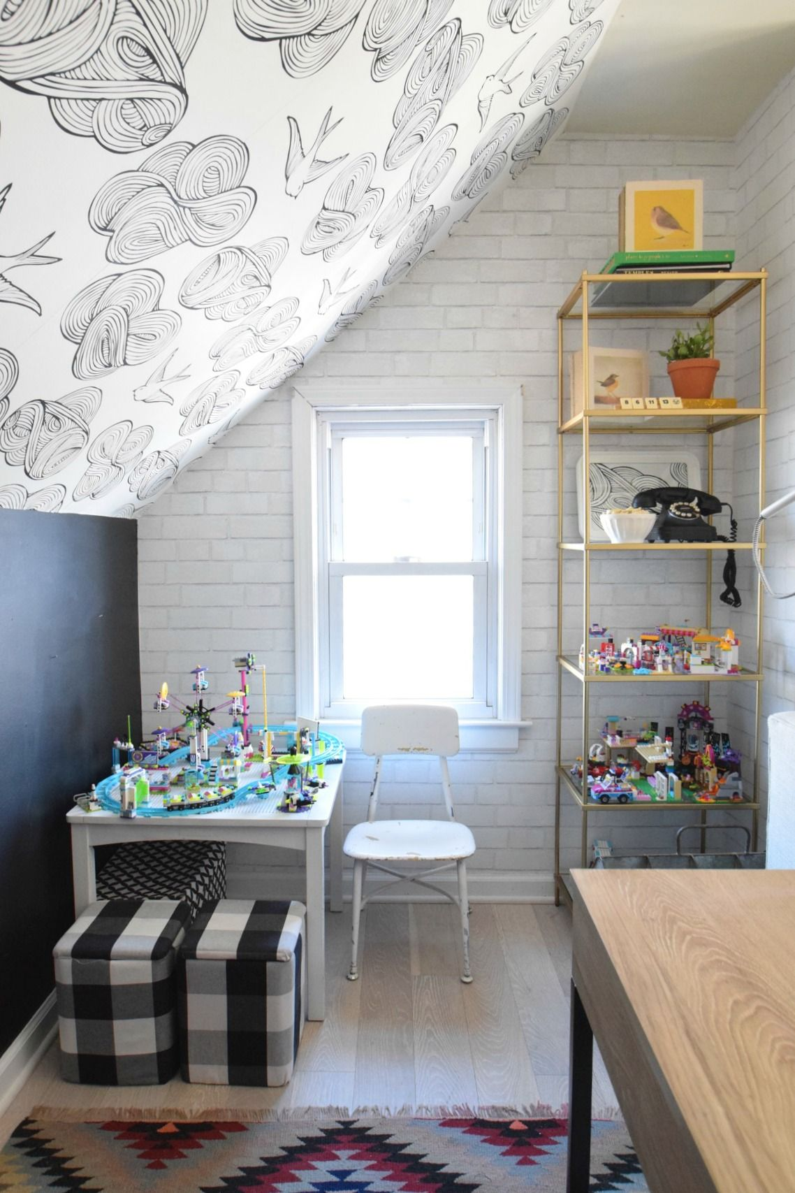 Daydream Wallpaper And The Legos Nesting With Grace Brick Wall Wallpaper Guest Room Office Slanted Walls