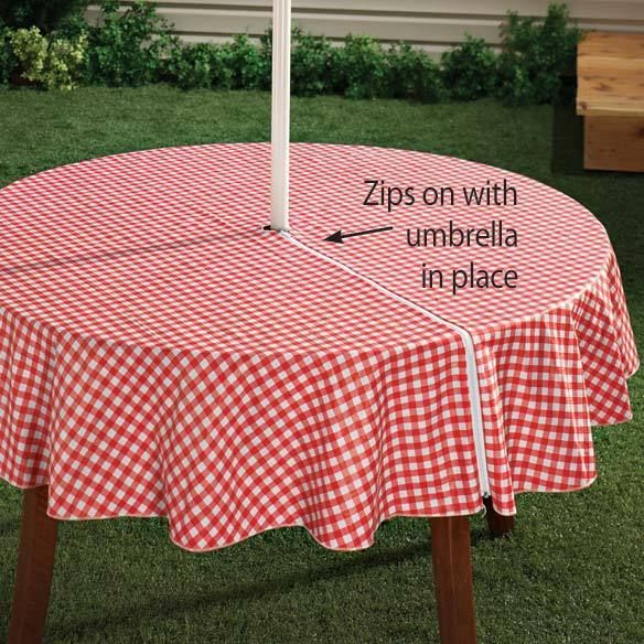 Red 70 Round Zippered Vinyl Umbrella Hole Table Cover Outdoor