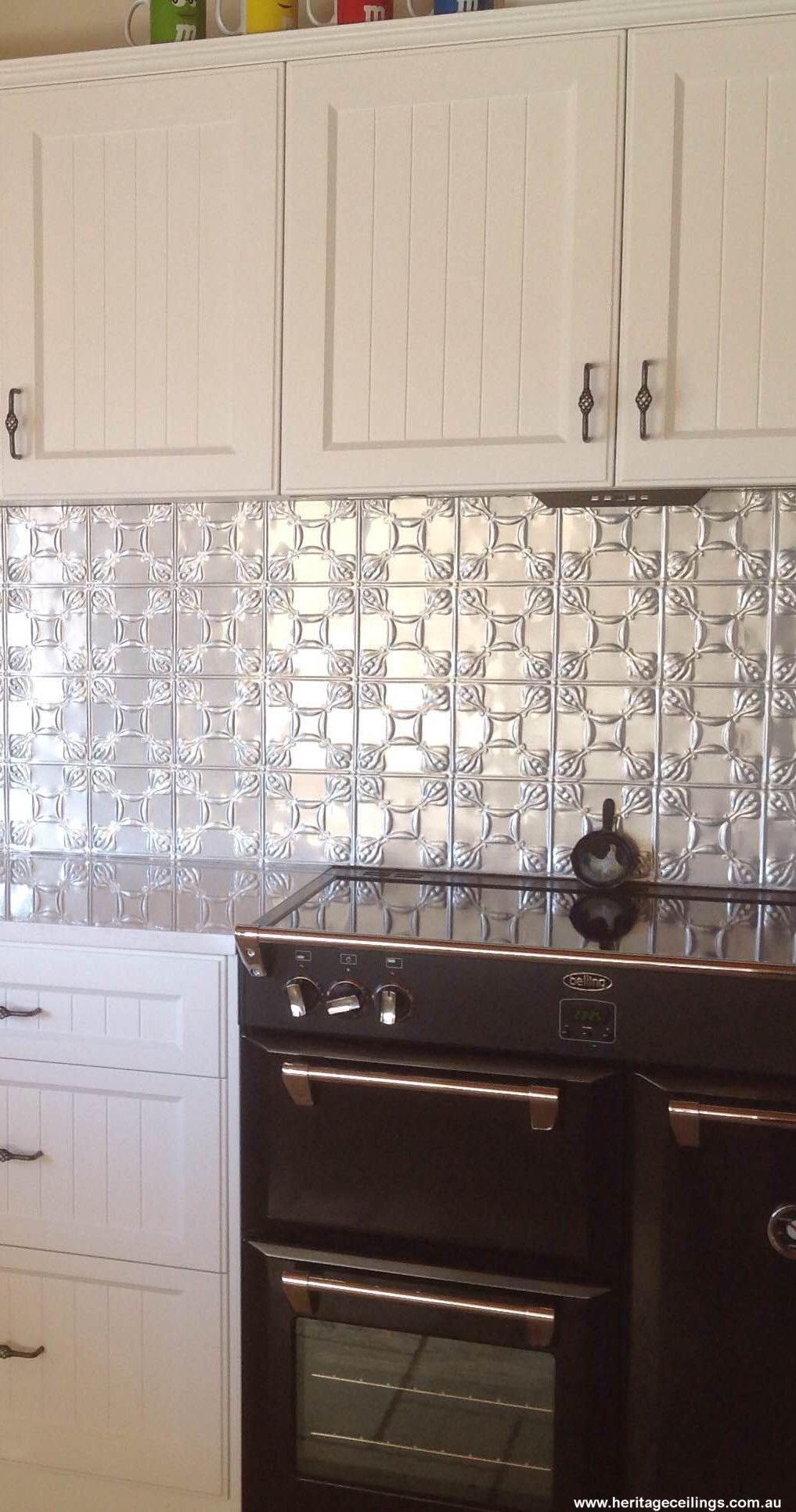 pin by decorative metal panels on splashy splashbacks in. Black Bedroom Furniture Sets. Home Design Ideas