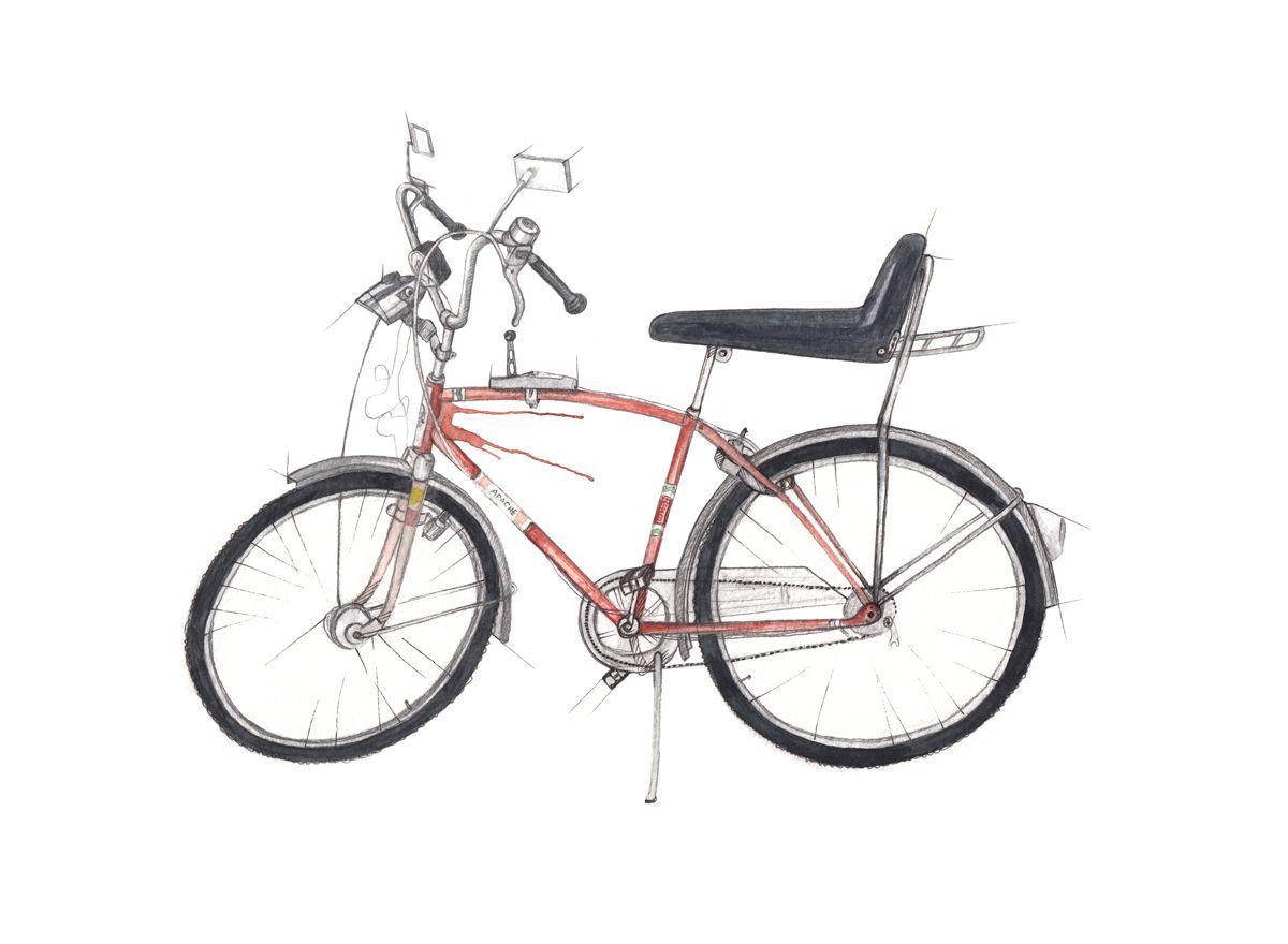"""""""Apachesykkel"""" (Norwegian retro bike)  Copyright: Emmeselle.no   illustration by Mona Stenseth Larsen"""