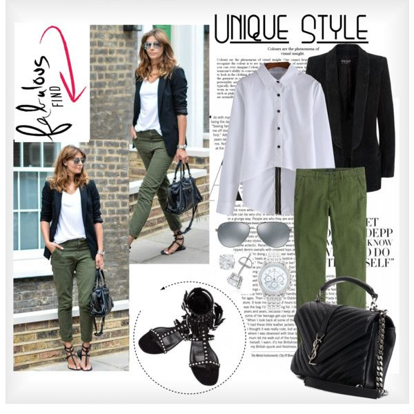 casual street style by ina-kis on Polyvore featuring Balmain, J.Crew, Yves Saint Laurent, Lane Bryant and Ray-Ban