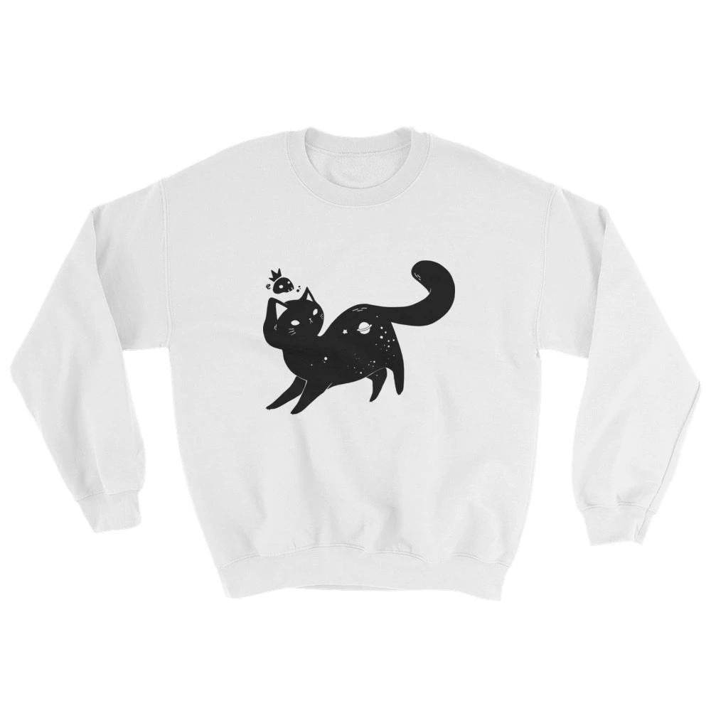 Space Cat Unisex Sweatshirt White Or Gray Sweatshirts Kitten Sweater Unisex Sweatshirt [ 1000 x 1000 Pixel ]