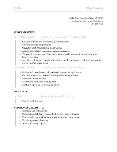 Dishwasher Resume Template  Resume Templates And Samples