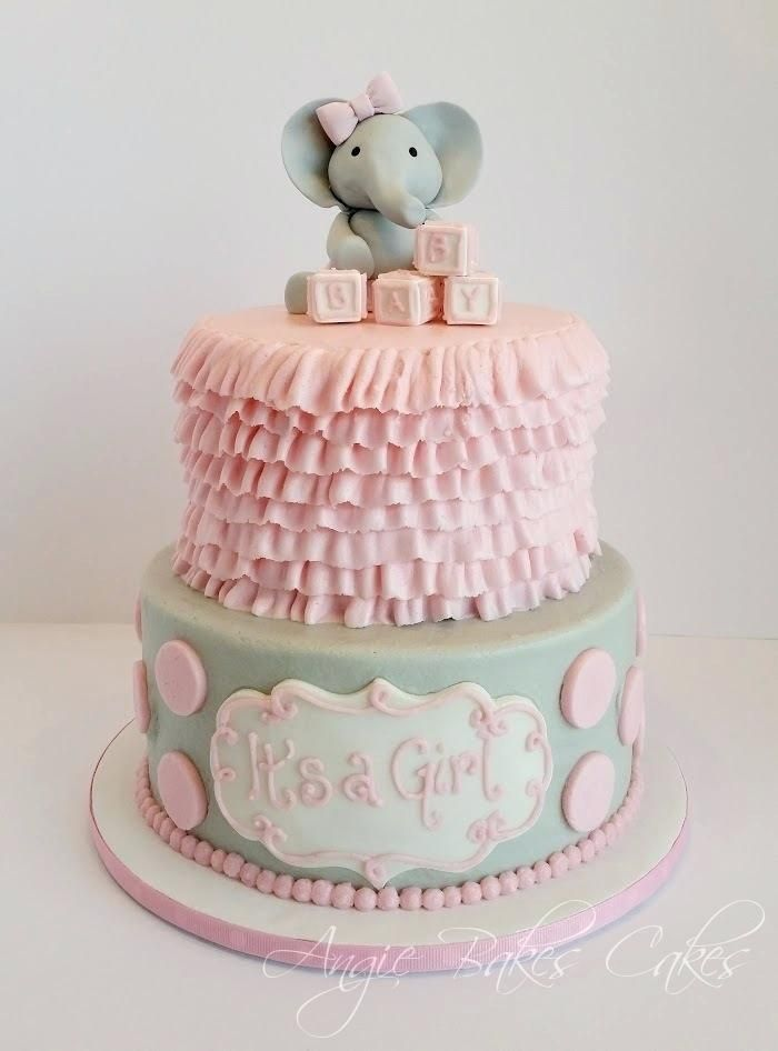 Blue Elephant Baby Shower Cake Topper Pink And Soft Gray