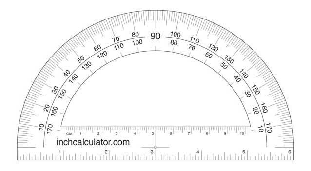 Printable Protractor Download Inch Calculator Protractor Protractor Activities Protractor Art