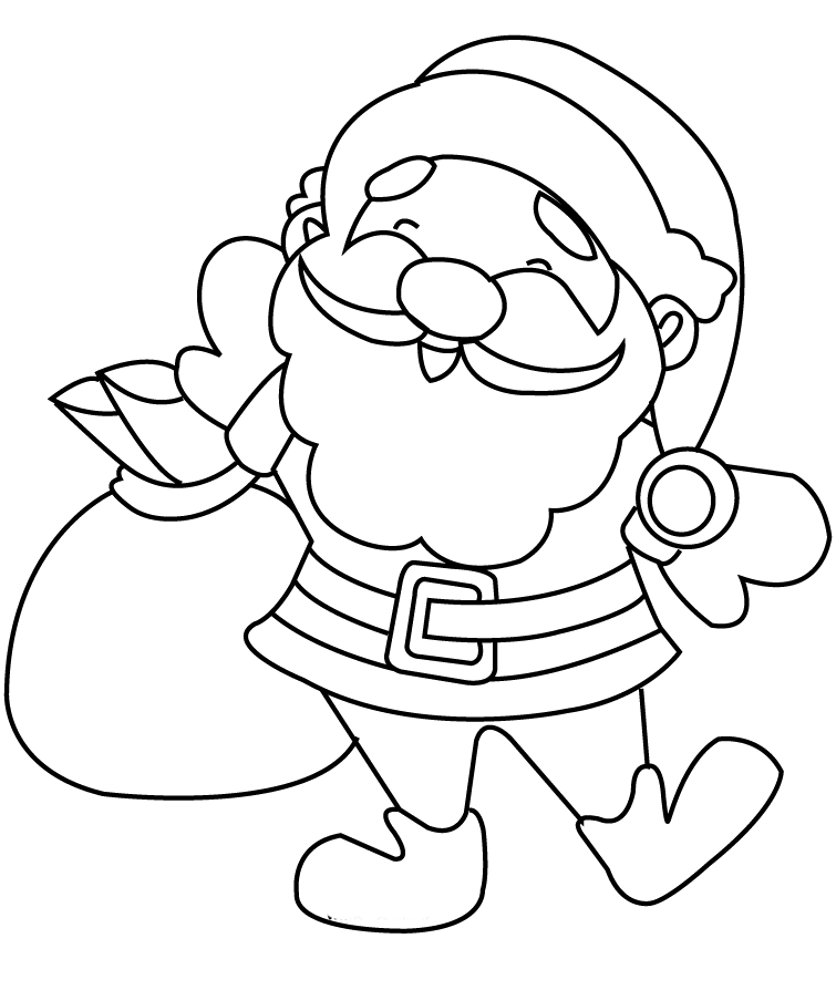 Smile Santa Claus In Christmas Coloring Pages | Santa ...