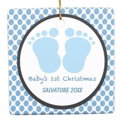 Baby's 1st Christmas With Baby Footprints Ornament | Zazzle.com #santafootprintideas
