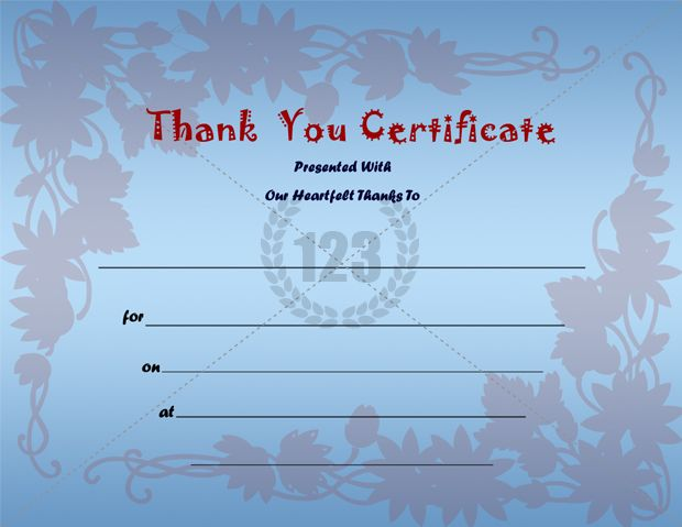 Thank You Certificate Template  Certificate Template