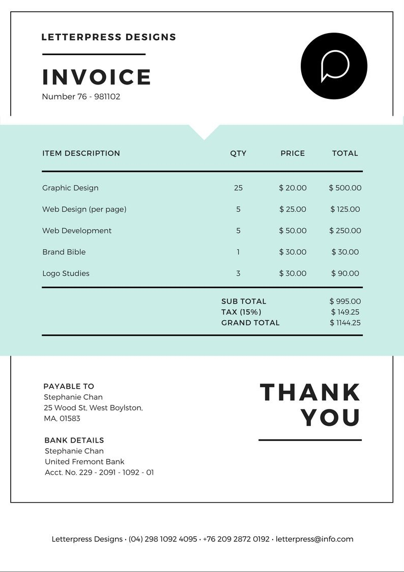 Free Online Invoice Maker Design A Custom Invoice In Canva For Make Your Own Invoice Template Free 10 Invoice Design Invoice Design Template Invoice Template