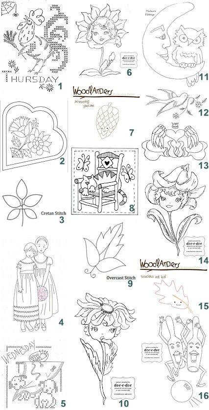 Free patterns: Hand-embroidery | Patrones, Bordado y Dibujo