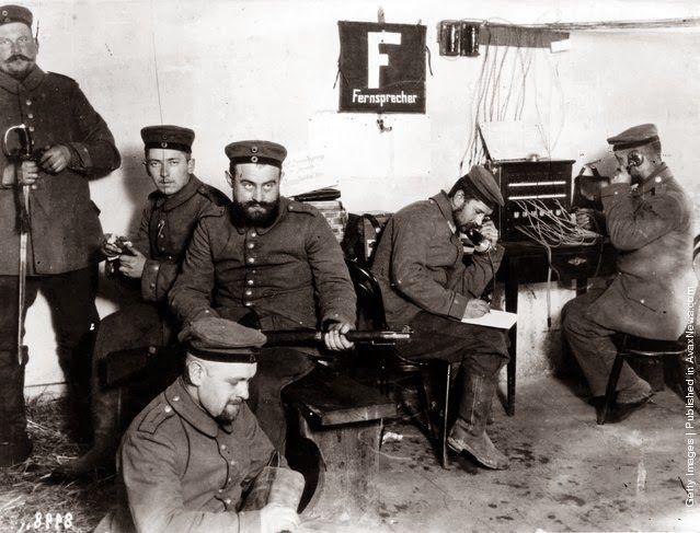 German field telegraph operators at work in Warsaw 1st October 1914