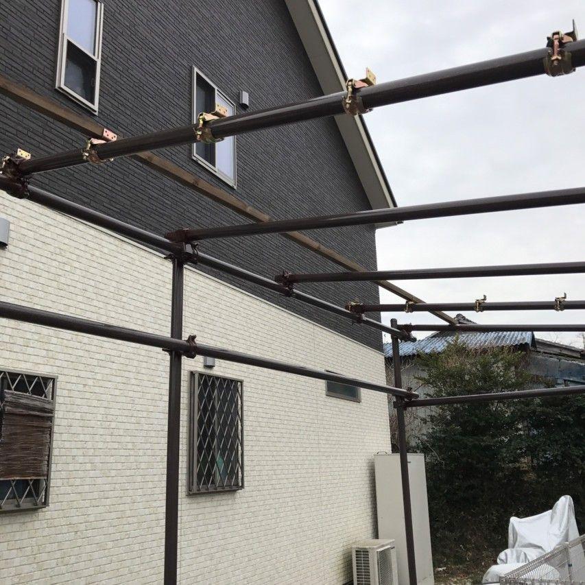 単管パイプ 波板 垂木 単管パイプ コンテナハウス カフェ 自転車小屋