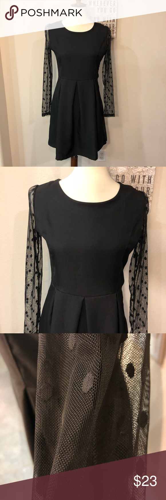Black Dress With Sheer Long Lace Sleeves Polkadot Dainty Dress Perfect Little Black Dress Lace Sleeves [ 1740 x 580 Pixel ]