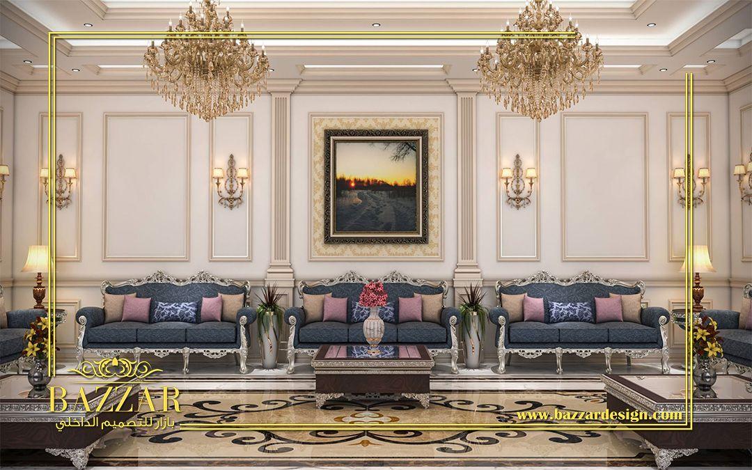 تصميم نيو كلاسيك لمجلس رجال ذو خطوط عصرية واضحة وجدران ذات الوان هادئة وزخارف عصرية ذات تفاصيل متقنة New Clas Luxury Ceiling Design Luxury Design Hotels Design