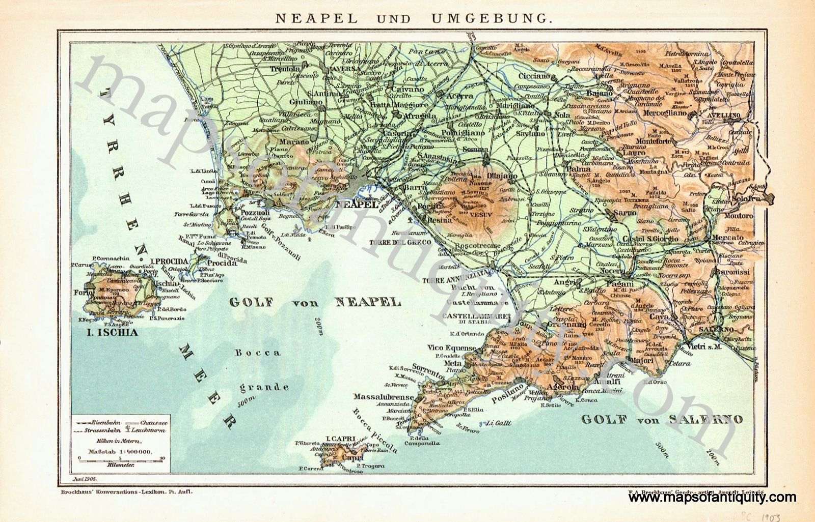 Bay of Naples & Naples Italy Neapel und Umgebung Antique Maps