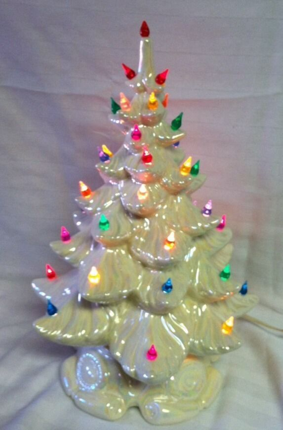 Details About Ceramic Christmas Tree Lighted 16 Vintage Mold