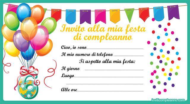biglietti invito di compleanno ragazza da stampare gratis pdf