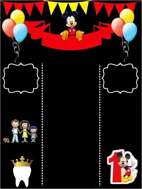 Mickey Mouse Primer Año Tarjeta O Invitación Tipo