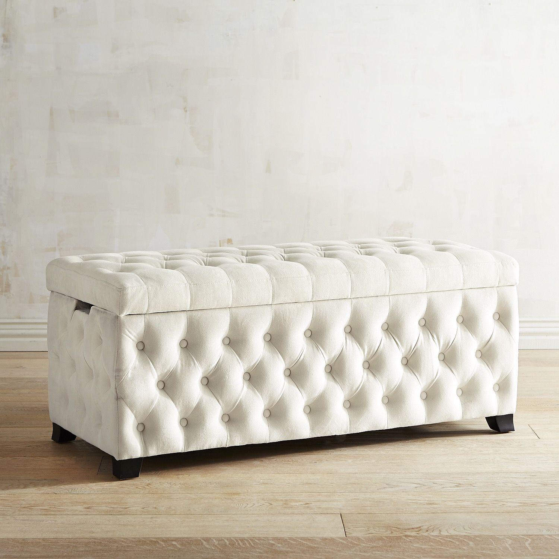 Splendor Tufted Ivory Storage Bench