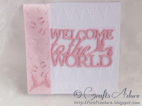 Handmade newborn baby girl congratulations card welcome to the handmade newborn baby girl congratulations card welcome to the world m4hsunfo