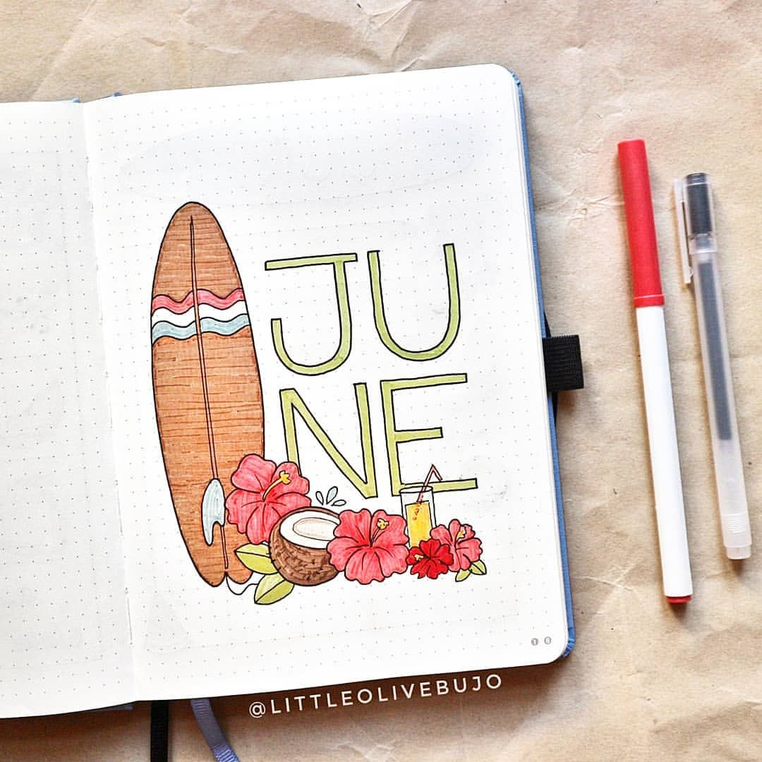 """Viola   Bullet Journal on Instagram: """"SUMMER VIBES ARE HERE�� This month I am full of exams so I will dream about tropical vacation through my bujo theme: is there someone who…"""""""