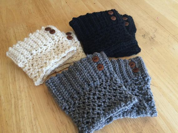 Lace Crochet Boot Cuffs with Buttons by SeeEmilyStitch on Etsy