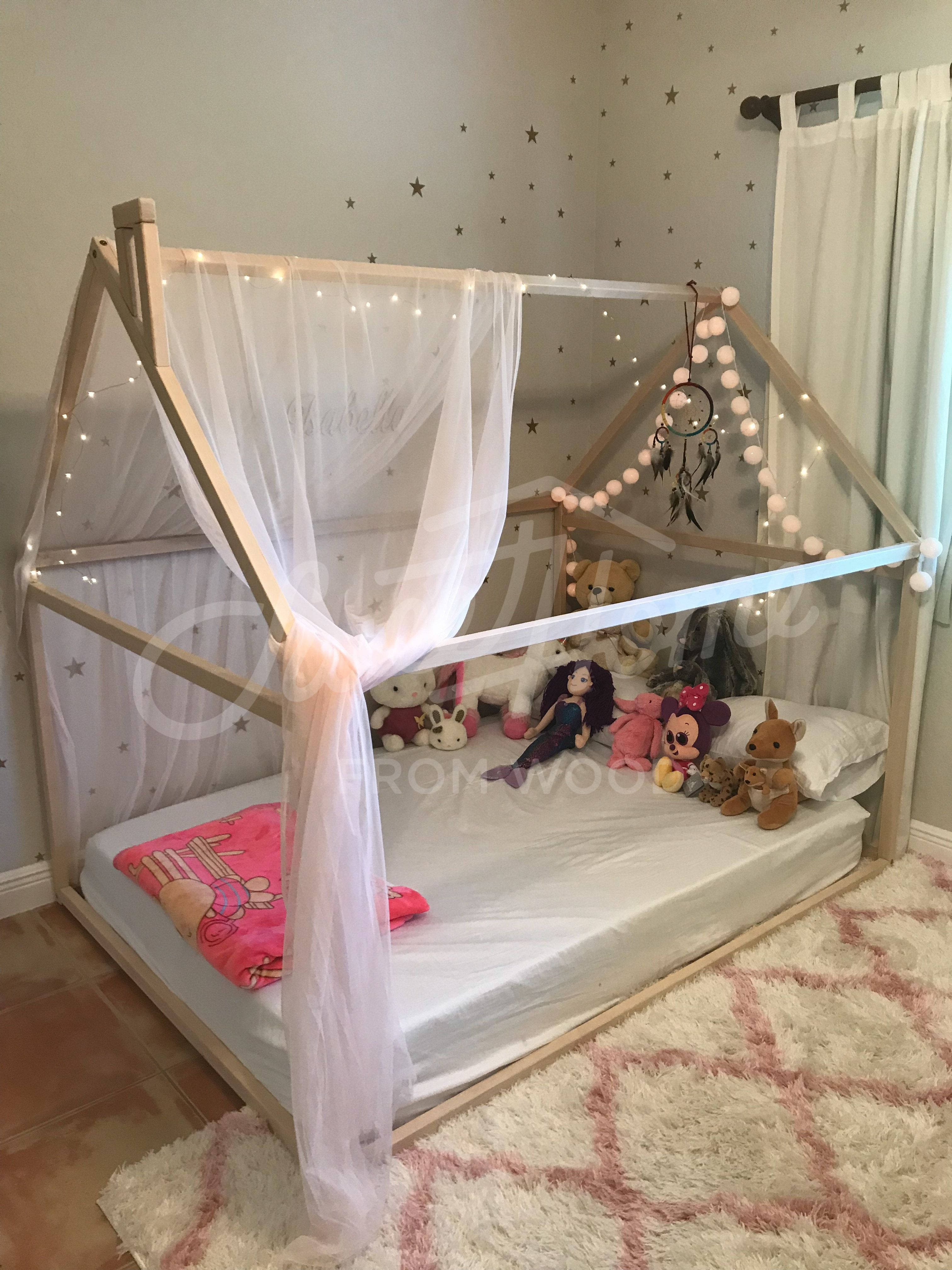 Wooden House Bed Frame Platform Bed Teepee Bed Wood Bed Frame