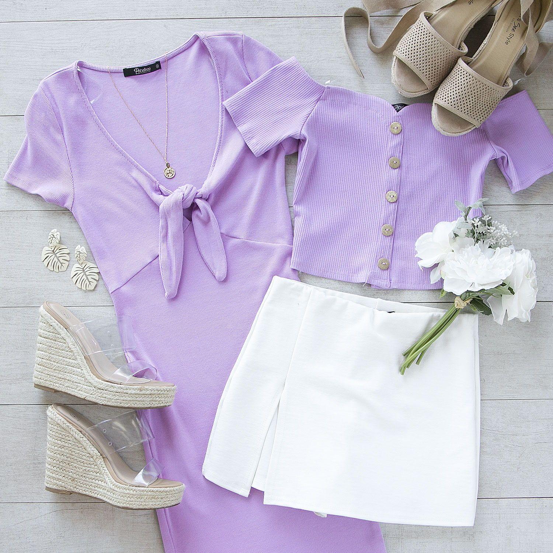 Lydia Lavender Tie Front Mini Dress Purple Top Outfit Purple Fashion Outfit Purple Outfits [ 1500 x 1500 Pixel ]