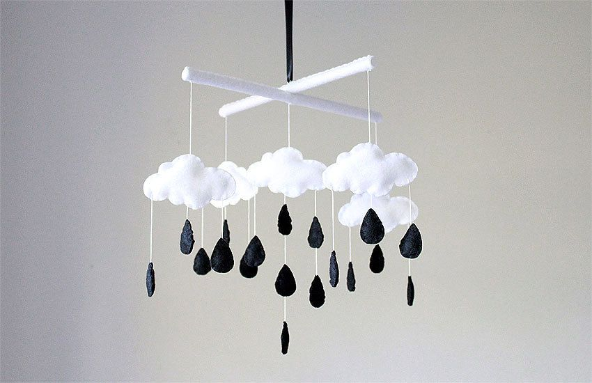 Black white baby mobile clouds rain drop crib mobile monochrome usd by sweetdreamsbabyshop