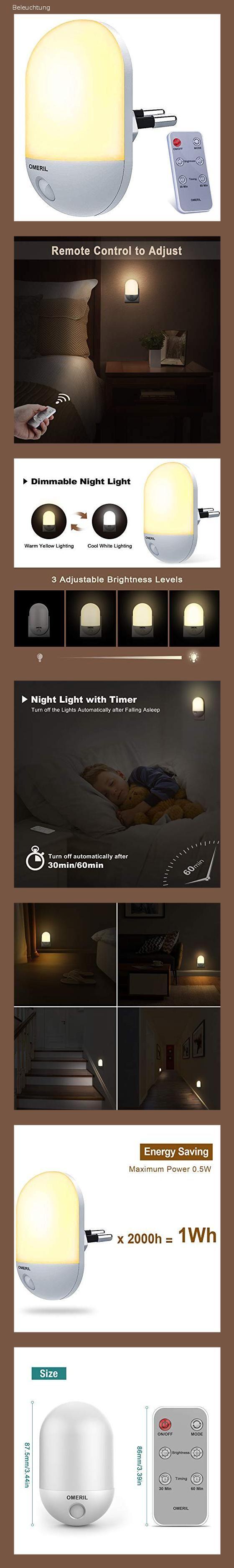Nachtlicht Steckdose Omeril Dimmbares Nachtlicht Baby Mit Fernbedienung Zeitgesteuert Warmlicht In 2020 Nachtlicht Fernbedienung Steckdosen