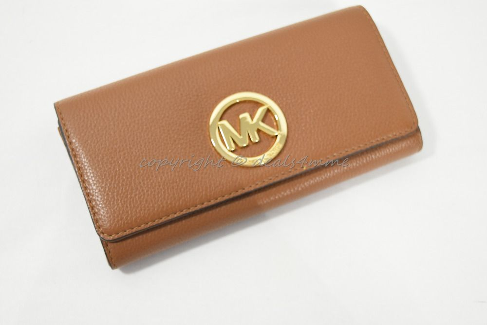 2351a5c52543 NWT Michael Kors Fulton Carryall Wallet in Luggage Brown Pebbled/Soft  Leather #MichaelKors #Envelope