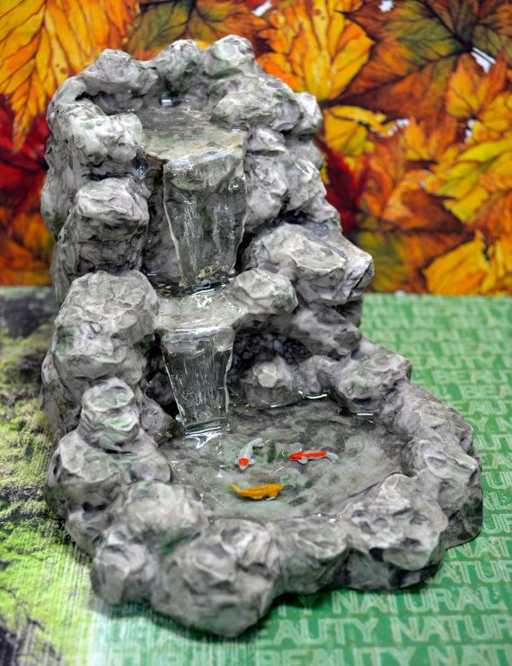 Fairy garden dollhouse miniature absolutely amazing koi for Fairy garden waterfall