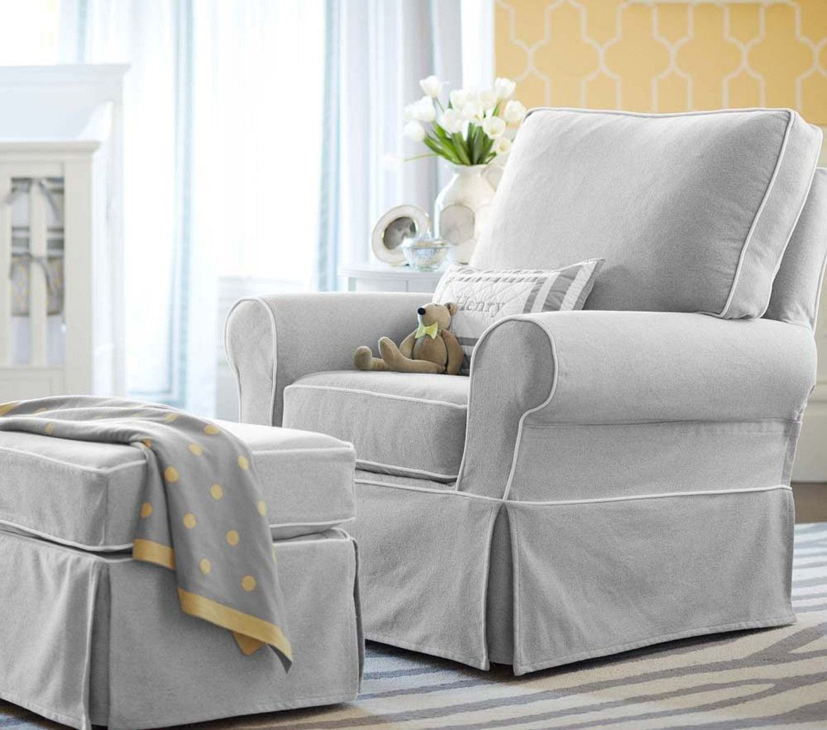 pottery barn baby chair cover henriksdal etsy the most comfortable nursing and ottoman comfort