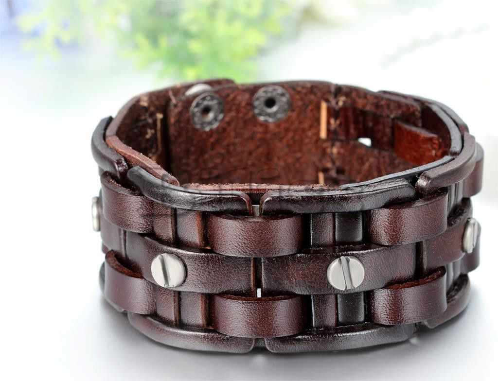 Leather Bracelets Wide Cuff Bracelet
