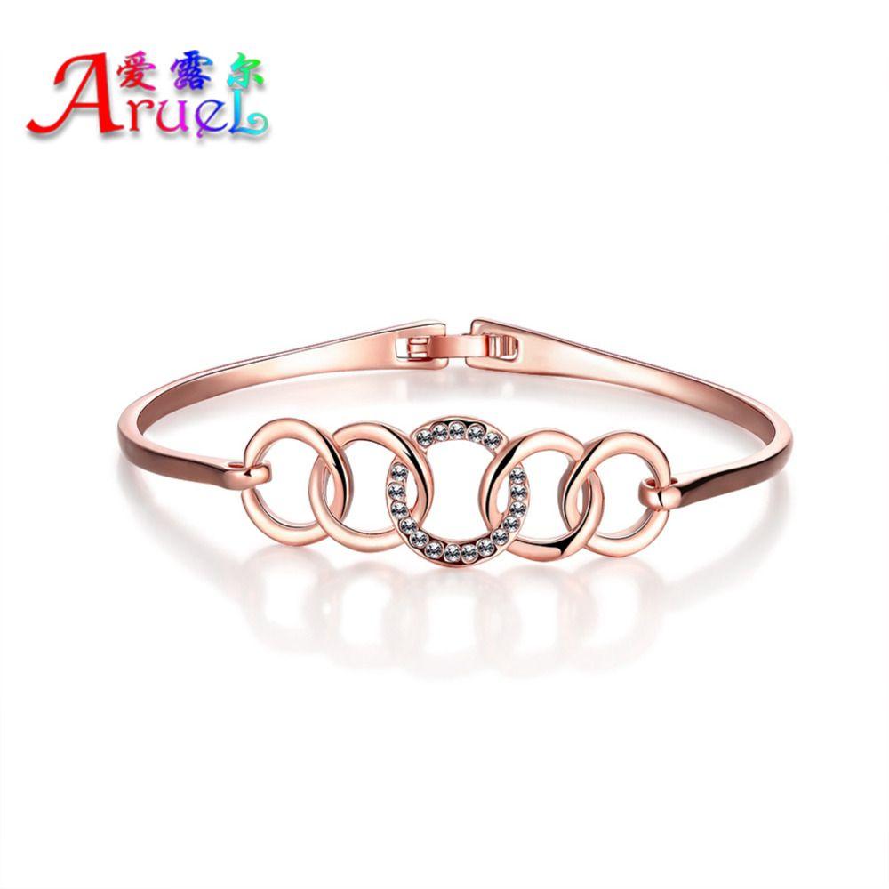 new luxury fashion five rings bracelets for women rose gold