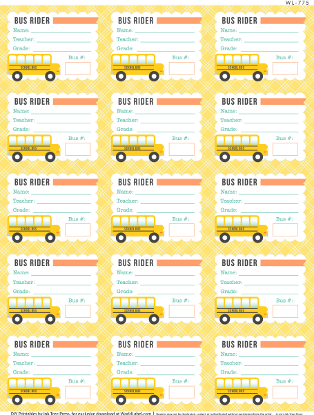 Label Templates Free School Labels Printables School Bus Safety Bus Tags