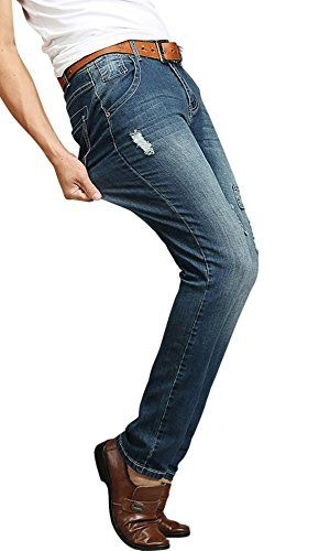 197e07fac8e Men's Slim Fit Stretch Ripped Jeans Pants, Dark Blue, 46 at #Amazon Men's