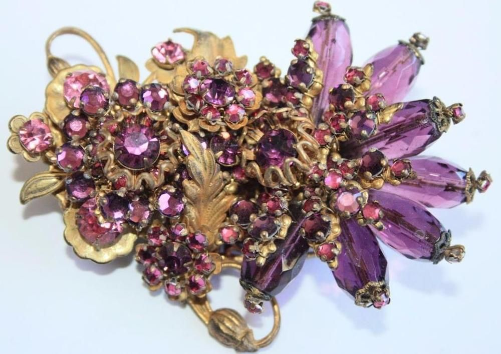 Vintage Exquisite Rare Signed Miriam Haskell Amethyst Crystals & Stones Brooch