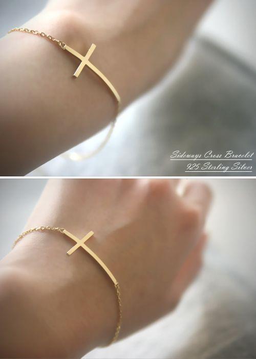 Sterling Silver Sideways Cross Bracelet Yellow Gold Horizontal Side
