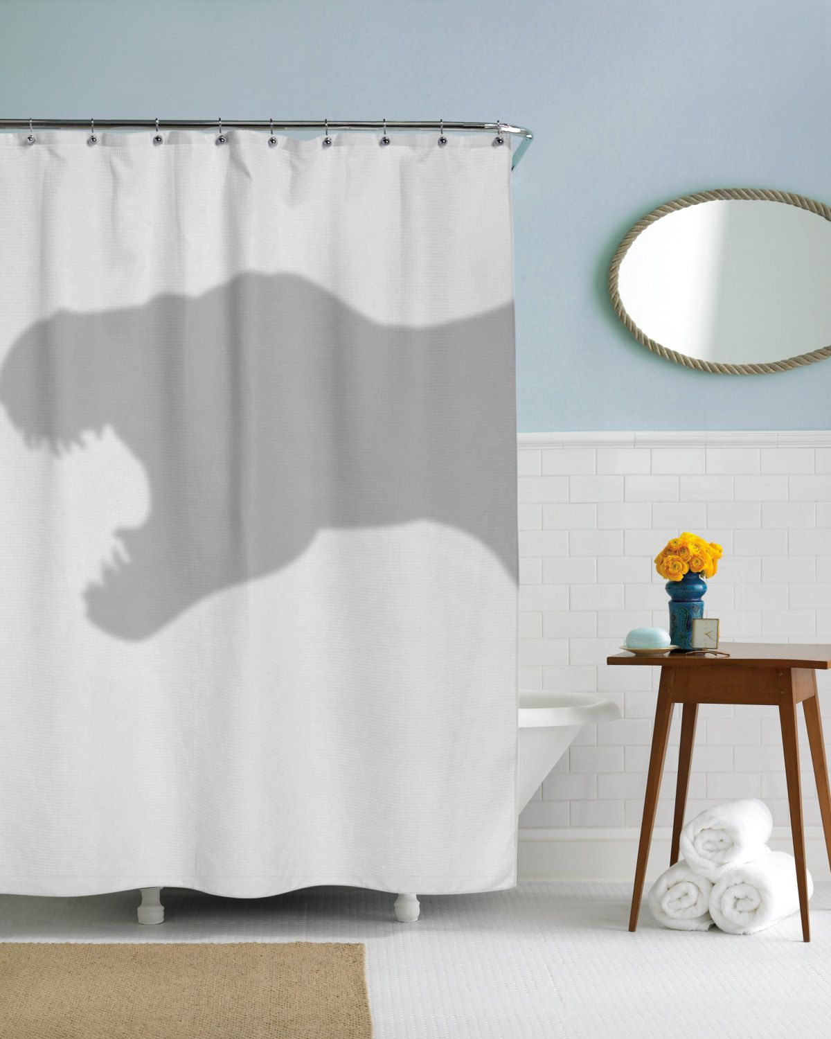 T-Rex Shower Curtain dino coolest bathroom you will ever see ...
