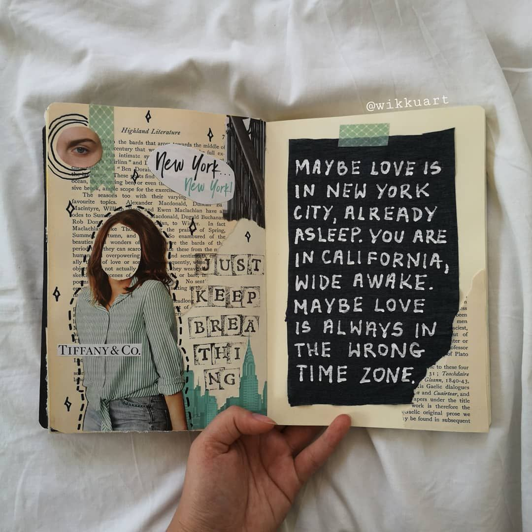 """wiktoria on Instagram: """"""""Maybe love is always in the wrong time zone"""" ???? Quote by Sarah Kay & @peekaye . . . . . . . #art #artjournal #artjournals #journals…"""" – Scrapbooking"""